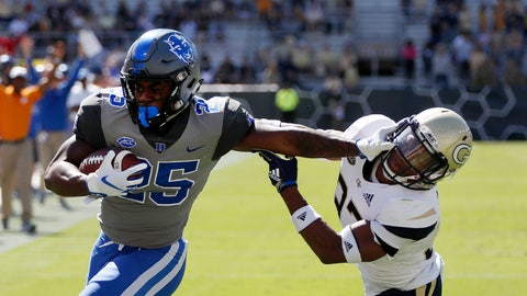 <p>               Duke running back Deon Jackson (25) stiff arms Georgia Tech defensive back Jaytlin Askew (33) as he runs for a touchdown during the first half of an NCAA college football game, Saturday, Oct. 13, 2018, in Atlanta. (AP Photo/John Bazemore)             </p>