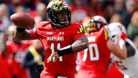 <p>               Maryland quarterback Kasim Hill throws to a receiver in the first half of an NCAA college football game against Rutgers, Saturday, Oct. 13, 2018, in College Park, Md. (AP Photo/Patrick Semansky)             </p>
