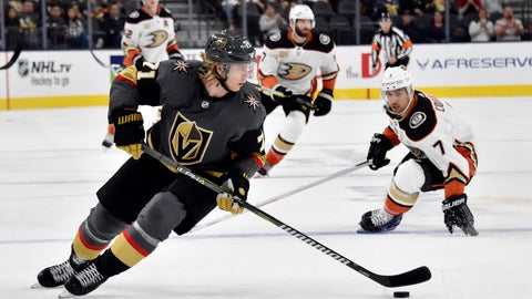 <p>               Vegas Golden Knights center William Karlsson (71) skates with the puck against the Anaheim Ducks during the first period of an NHL hockey game Saturday, Oct. 20, 2018, in Las Vegas. (AP Photo/David Becker)             </p>