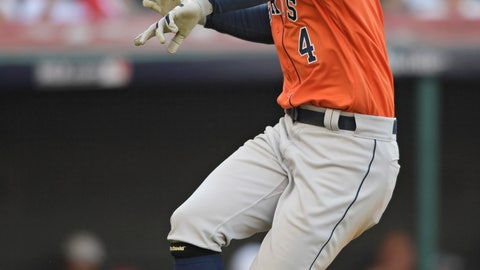 <p>               Houston Astros' George Springer celebrates after hitting a solo home run in the eighth inning during Game 3 of a baseball American League Division Series against the Cleveland Indians, Monday, Oct. 8, 2018, in Cleveland. (AP Photo/David Dermer)             </p>