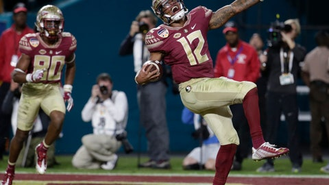 <p>               FILE - In this Dec. 30, 2016, file photo, Florida State quarterback Deondre Francois (12) celebrates after scoring a touchdown during the second half of the Orange Bowl NCAA college football game against Michigan,  in Miami Gardens, Fla. At left is Florida State wide receiver Nyqwan Murray (80). Florida State quarterback Deondre Francois has already won two starts on Miami's home field. That's one more than Miami's starter has.It's a statistical oddity, but it's true. (AP Photo/Lynne Sladky, File)             </p>