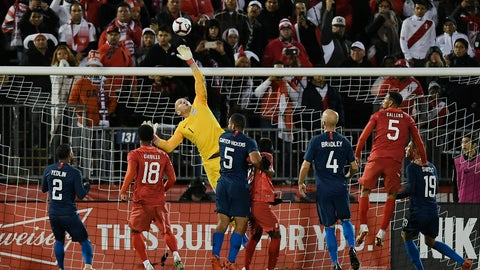 <p>               United States goalkeeper Brad Guzan (1) makes a save in the final minutes of an international friendly soccer match against Peru in East Hartford, Conn., Tuesday, Oct. 16, 2018. (AP Photo/Jessica Hill)             </p>