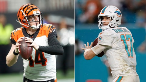 <p>               FILE - At left, in a Sept. 30, 2018, file photo, Cincinnati Bengals quarterback Andy Dalton (14) looks to pass against the Atlanta Falcons during the second half of an NFL football game, in Atlanta. At right, in a Sept. 9, 2018, file photo, Miami Dolphins quarterback Ryan Tannehill (17) looks to pass during the second half of an NFL football game against the Tennessee Titans,  in Miami Gardens, Fla. The Dolphins are trying for their first 4-1 start since 2003, facing the team they've handled as well as anyone in the league. The Bengals (3-1) are getting linebacker Vontaze Burfict back against Miami, whom they've beaten only six times in 22 tries. (AP Photo/File)             </p>