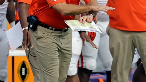 <p>               Clemson head coach Dabo Swinney signals is team during the first half of an NCAA college football game against Wake Forest in Charlotte, N.C., Saturday, Oct. 6, 2018. (AP Photo/Chuck Burton)             </p>