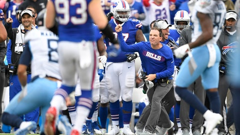 <p>               Buffalo Bills defensive backs coach John Butler reacts after a play against the Tennessee Titans during the second half of an NFL football game, Sunday, Oct. 7, 2018, in Orchard Park, N.Y. The Bills won 13-12. (AP Photo/Adrian Kraus)             </p>