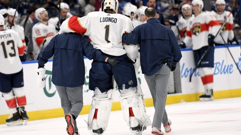 <p>               Florida Panthers goaltender Roberto Luongo (1) is helped to the bench after being injured during the second period of an NHL hockey game against the Tampa Bay Lightning Saturday, Oct. 6, 2018, in Tampa, Fla. (AP Photo/Jason Behnken)             </p>