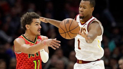 <p>               Atlanta Hawks' Trae Young (11) passes against Cleveland Cavaliers' Rodney Hood (1) in the first half of an NBA basketball game, Tuesday, Oct. 30, 2018, in Cleveland. (AP Photo/Tony Dejak)             </p>