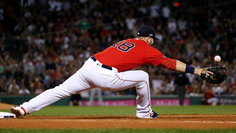 <p>               Boston Red Sox first baseman Mitch Moreland cannot get a glove on a throw to first after a base hit by New York Yankees' Aaron Judge during the fifth inning of Game 2 of a baseball American League Division Series, Saturday, Oct. 6, 2018, in Boston. (AP Photo/Elise Amendola)             </p>