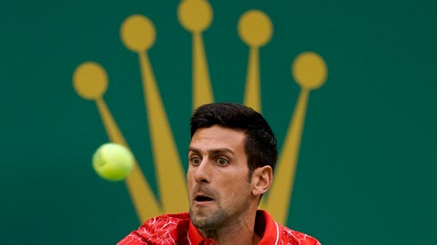 <p>               Novak Djokovic of Serbia eyes on the ball as he plays against Alexander Zverev of Germany during their men's singles semifinals match in the Shanghai Masters tennis tournament at Qizhong Forest Sports City Tennis Center in Shanghai, China, Saturday, Oct. 13, 2018. (AP Photo/Andy Wong)             </p>