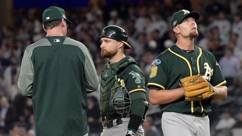 <p>               Oakland Athletics relief pitcher Blake Treinen reacts as he walks off the field during the eighth inning of the American League wild-card playoff baseball game against the New York Yankees, Wednesday, Oct. 3, 2018, in New York. (AP Photo/Bill Kostroun)             </p>