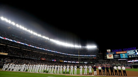 <p>               The New York Yankees stand on the field for the national anthem before playing against the Oakland Athletics in the American League wildcard playoff baseball game, Wednesday, Oct. 3, 2018, in new York (AP Photo/Frank Franklin II)             </p>