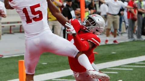 <p>               Indiana receiver Nick Westbrook, left, catches a touchdown pass against Ohio State defensive back Jeffrey Okudah during the first half of an NCAA college football game Saturday, Oct. 6, 2018, in Columbus, Ohio. (AP Photo/Jay LaPrete)             </p>
