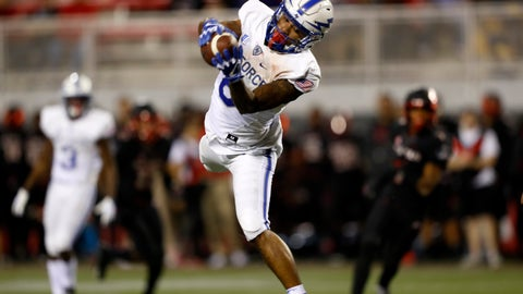 <p>               Air Force wide receiver Marcus Bennett (8) jumps for a pass reception against UNLV during the first half of an NCAA college football game in Las Vegas, Friday, Oct. 19, 2018. (Steve Marcus/Las Vegas Sun via AP)             </p>