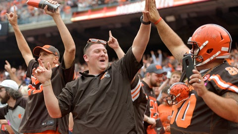 <p>               FILE - In this Oct. 7, 2018, file photo, Cleveland Browns fans celebrate after the Browns defeated the Baltimore Ravens 12-9 during overtime in an NFL football game, in Cleveland. The Los Angeles Chargers play at Cleveland on Sunday. (AP Photo/David Richard, File)             </p>