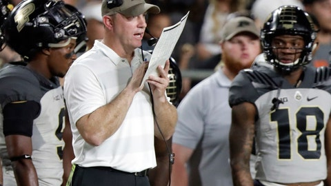 <p>               FILE - In this Sept. 15, 2018, file photo, Purdue head coach Jeff Brohm looks over his playcard during the first half of an NCAA college football game against Missouri in West Lafayette, Ind. Brohm sees all sorts of challenges in No. 2 Ohio State. Purdue's coach knows the Buckeyes are big and strong, capable of scoring dozens of points making life miserable for opponents.  (AP Photo/Michael Conroy, File)             </p>
