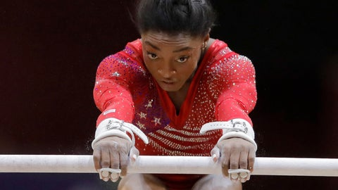 <p>               Simone Biles of the U.S. performs on the uneven bars during the women's team final of the Gymnastics World Chamionships at the Aspire Dome in Doha, Qatar, Tuesday, Oct. 30, 2018. (AP Photo/Vadim Ghirda)             </p>