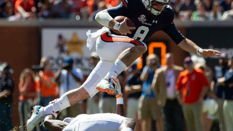 <p>               Auburn quarterback Jarrett Stidham (8) gets loose during the second half of an NCAA college football game against Tennessee, Saturday, Oct. 13, 2018, in Auburn, Ala. (AP Photo/Vasha Hunt)             </p>