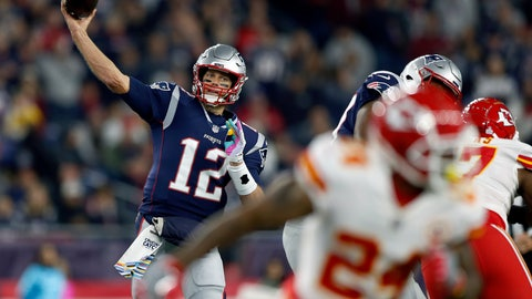 <p>               New England Patriots quarterback Tom Brady (12) passes under pressure from the Kansas City Chiefs during the first half of an NFL football game, Sunday, Oct. 14, 2018, in Foxborough, Mass. (AP Photo/Michael Dwyer)             </p>
