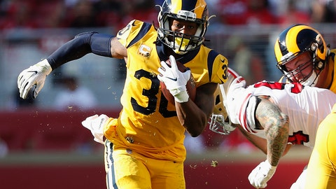 <p>               Los Angeles Rams running back Todd Gurley II (30) runs against the San Francisco 49ers during the second half of an NFL football game in Santa Clara, Calif., Sunday, Oct. 21, 2018. (AP Photo/Tony Avelar)             </p>
