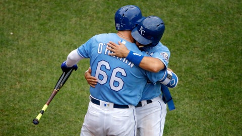 <p>               Kansas City Royals' Whit Merrifield hugs Ryan O'Hearn (66) after Merrifield came out of the game during the eighth inning of a baseball game Sunday, Sept. 30, 2018, in Kansas City, Mo. (AP Photo/Charlie Riedel)             </p>