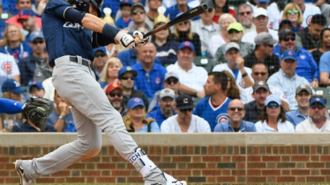 <p>               Milwaukee Brewers' Christian Yelich (22) hits an RBI single during the third inning of a tiebreak baseball game against the Chicago Cubs on Monday, Oct. 1, 2018, in Chicago. (AP Photo/Matt Marton)             </p>