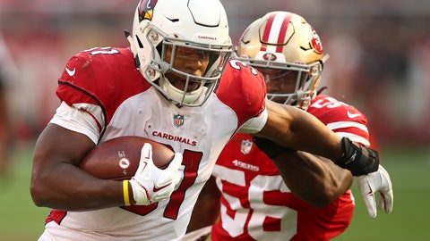 <p>               Arizona Cardinals running back David Johnson, left, runs in front of San Francisco 49ers linebacker Reuben Foster (56) during the second half of an NFL football game in Santa Clara, Calif., Sunday, Oct. 7, 2018. (AP Photo/Ben Margot)             </p>