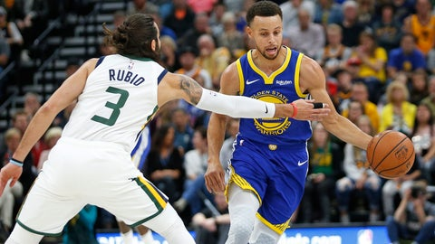<p>               Golden State Warriors guard Stephen Curry, right, drives around Utah Jazz guard Ricky Rubio (3) in the first half during an NBA basketball game Friday, Oct. 19, 2018, in Salt Lake City. (AP Photo/Rick Bowmer)             </p>