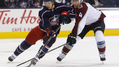 <p>               Columbus Blue Jackets' Artemi Panarin, left, of Russia, carries the puck towards the goal as Colorado Avalanche's Tyson Barrie defends during the second period of an NHL hockey game Tuesday, Oct. 9, 2018, in Columbus, Ohio. (AP Photo/Jay LaPrete)             </p>