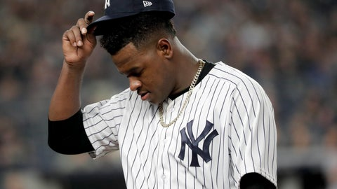 <p>               New York Yankees starting pitcher Luis Severino walks off the field during the fourth inning of Game 3 of baseball's American League Division Series against the Boston Red Sox, Monday, Oct. 8, 2018, in New York. (AP Photo/Frank Franklin II)             </p>