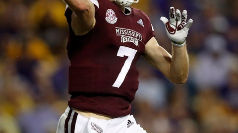<p>               Mississippi State quarterback Nick Fitzgerald (7) throws the ball during an NCAA college football game against LSU in Baton Rouge, La., Saturday, Oct. 20, 2018. (AP Photo/Tyler Kaufman)             </p>