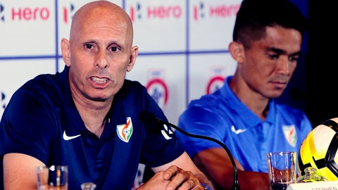 <p>               FILE - In this May 31, 2018, file photo, India's soccer coach Stephen Constantine speaks with captain Sunil Chhetri by his side during a pre-tournament press conference for the Hero Intercontinental Cup in Mumbai, India. Soccer's two biggest sleeping giants India and China meet in Suzhou, China on Saturday, Oct. 13, for the first time since 1997. Representing around one-third of the world's population, India and China both show signs of growing strength in their domestic leagues, despite limited international success. (AP Photo/Rajanish Kakade, File)             </p>