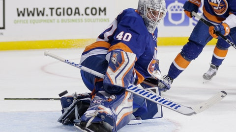 <p>               New York Islanders goaltender Robin Lehner deflects a shot during the first period of an NHL hockey game against the San Jose Sharks, Monday, Oct. 8, 2018, in New York. (AP Photo/Seth Wenig)             </p>