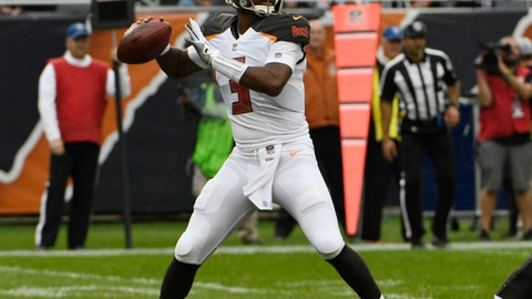 <p>               FILE - In this Sept. 30, 2018, file photo, Tampa Bay Buccaneers quarterback Jameis Winston (3) looks to pass during the second half of an NFL football game against the Chicago Bears, in Chicago. Winston will get his first start of the season for the Buccaneers. Winston served a three-game suspension for violating the league's personal conduct policy and came off the bench in Tampa Bay's last game. After a bye week, the No. 1 job again belongs to Winston. (AP Photo/David Banks, File)             </p>