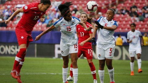 <p>               Panama defender Rebeca Espinosa (15) and defender Yomira Pinzon (5) attempt to defend against Canada forward Christine Sinclair (12) as Sinclair scores a goal during the second half of a soccer match at the CONCACAF women's World Cup qualifying tournament in Frisco, Texas, Sunday, Oct. 14, 2018. (AP Photo/Andy Jacobsohn)             </p>