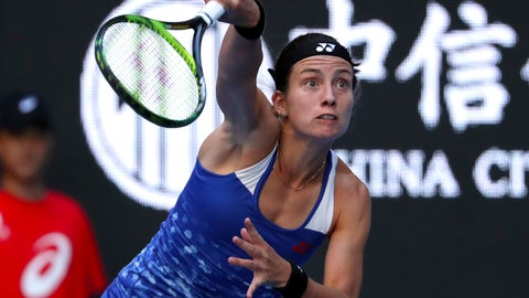 <p>               Anastasija Sevastova of Latvia hits a return shot while competing against Naomi Osaka of Japan in their women's singles semifinal match in the China Open at the National Tennis Center in Beijing, Saturday, Oct. 6, 2018. (AP Photo/Mark Schiefelbein)             </p>