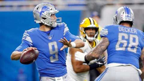 <p>               Detroit Lions quarterback Matthew Stafford prepares to throw during the first half of an NFL football game against the Green Bay Packers, Sunday, Oct. 7, 2018, in Detroit. (AP Photo/Carlos Osorio)             </p>