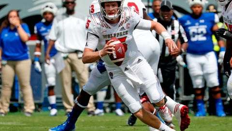 <p>               FILE - In this Sept. 8, 2018, file photo, North Carolina State quarterback Ryan Finley (15) rolls out during the first half of the team's NCAA college football game against Georgia State in Raleigh, N.C. Finley has helped the Wolfpack rank third nationally in third-down conversion rate entering Saturday's game against Boston College. (AP Photo/Chris Seward)             </p>