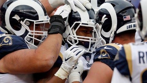 <p>               Los Angeles Rams running back Todd Gurley, center, celebrates his touchdown with teammates during the second half of an NFL football game against the Denver Broncos, Sunday, Oct. 14, 2018, in Denver. (AP Photo/David Zalubowski)             </p>