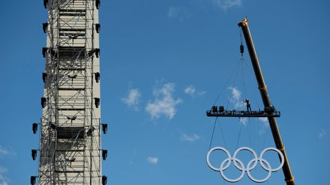 <p>               The olympic rings are craned into position at the Obelisk, in Buenos Aires, Argentina, Thursday, Oct. 4, 2018, two days ahead of the III Youth Olympic Games. Promoted by the International Olympic Committee, the summer games will gather close to 4,000 athletes from over 200 countries in Buenos Aires. ( Joel Marklund/OIS/IOC via AP)             </p>
