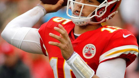 <p>               FILE - In this Oct. 7, 2018, file photo, Kansas City Chiefs quarterback Patrick Mahomes (15) throws a pass during the first half of an NFL football game against the Jacksonville Jaguars, in Kansas City, Mo. New England Patriots' Tom Brady, who will retire as possibly the best to ever play the position, faces Kansas City's Patrick Mahomes, the most electrifying quarterback in the NFL this season, on Sunday.  (AP Photo/Charlie Riedel, File)             </p>