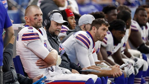 <p>               Buffalo Bills quarterback Derek Anderson (3) sits on the bench in the closing minutes of an NFL football game against the Indianapolis Colts in Indianapolis, Sunday, Oct. 21, 2018. (AP Photo/John Minchillo)             </p>