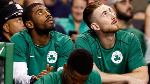 <p>               FILE - In this Oct. 9, 2017 file photo Boston Celtics' Kyrie Irving, left, and Gordon Hayward look on from the bench during the first quarter of a preseason NBA basketball game against the Philadelphia 76ers in Boston. Last season hopes were high for the Celtics in the preseason with a new-look roster that included Irving and Hayward. Five minutes into the season opener everything changed with Hayward's gruesome leg injury. It happened again late in the season with Irving was lost to knee surgery. With both back and healthy, Boston is embracing being called the presumptive favorites in the Eastern Conference. (AP Photo/Winslow Townson, file)             </p>