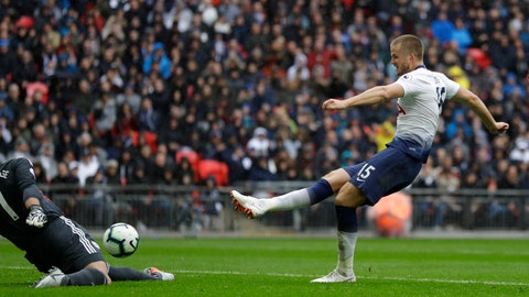 <p>               Tottenham's Eric Dier scores his side's opening goal during the English Premier League soccer match between Tottenham Hotspur and Cardiff City at Wembley stadium in London, Saturday, Oct. 6, 2018. (AP Photo/Kirsty Wigglesworth)             </p>