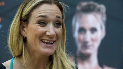<p>               FILE - In this March 22, 2016, file photo, Kerri Walsh Jennings speaks to reporters during a news conference in New York. Three-time beach Olympic volleyball gold medalist Kerri Walsh Jennings has a new partner as she tries to qualify for the 2020 Summer Games in Tokyo. Walsh Jennings tells The Associated Press she will pair with Rio Olympian Brooke Sweat, a defensive specialist. (AP Photo/Mary Altaffer, File)             </p>