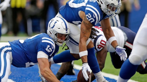 <p>               FILE - In this Sept. 30, 2018, file photo, Indianapolis Colts quarterback Andrew Luck (12) and running back Jordan Wilkins (20) try to recover a fumble during the first half of an NFL football game against the Houston Texans, in Indianapolis. Houston Texans' Jadeveon Clowney (90) recovered the fumble for a touchdown. Luck made his thoughts perfectly clear after another loss last week. He expects the Indianapolis Colts to clean things up.Whether it's missed throws, dropped passes, penalties or turnovers, just about every glaring flaw that could strike has and it's left the Colts in a major early-season bind.(AP Photo/Michael Conroy, File)             </p>