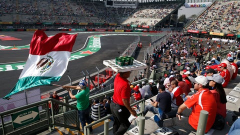 <p>               Fans watch a practice run prior to Sunday's Formula One Mexico Grand Prix auto race at the Hermanos Rodriguez racetrack in Mexico City, Friday, Oct. 26, 2018. (AP Photo/Marco Ugarte)             </p>