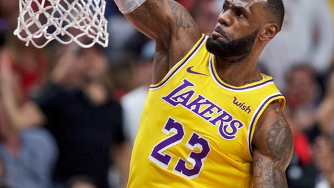 <p>               Los Angeles Lakers forward LeBron James dunks against the Portland Trail Blazers during the first half of an NBA basketball game in Portland, Ore., Thursday, Oct. 18, 2018. (AP Photo/Craig Mitchelldyer)             </p>