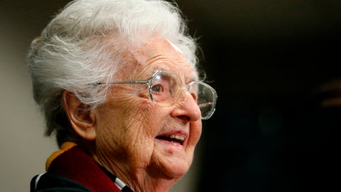 <p>               FILE - In this March 30, 2018, file photo, Loyola's Sister Jean Dolores Schmidt answers questions during a news conference for the Final Four NCAA college basketball tournament in San Antonio. Sister Jean is the winner of Illinois' 2018 Senior Hall of Fame award. The Catholic nun and longtime chaplain of the Loyola-Chicago basketball team became a celebrity last March as the Ramblers reached the NCAA Final Four. In August she celebrated her 99th birthday. (AP Photo/Brynn Anderson, File)             </p>