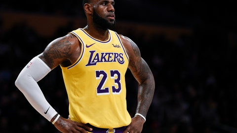 <p>               FILE - In this Oct. 4, 2018, file photo, Los Angeles Lakers forward LeBron James looks on during the first half of an NBA preseason basketball game against the Sacramento Kings in Los Angeles. The only certainty in the NBA this season is that James won't win the East _ ending an eight-year run of that, four in Miami and four in Cleveland.(AP Photo/Kelvin Kuo, File)             </p>