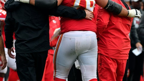 <p>               FILE - In this Sunday, Oct. 7, 2018 file photo,Kansas City Chiefs offensive lineman Laurent Duvernay-Tardif (76) is helped off the field during the second half of an NFL football game against the Jacksonville Jaguars in Kansas City, Mo. The Chiefs placed right guard Laurent Duvernay-Tardif and safety Armani Watts on injured reserve Tuesday, Oct. 9, 2018 and signed outside linebacker Frank Zombo to provide depth at that depleted position.(AP Photo/Ed Zurga, File)             </p>
